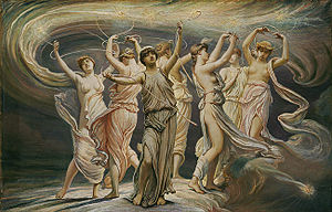 Greek symbolism of the Pleiades as the 7 daughters of the titan Atlas
