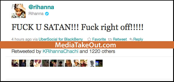 Rihanna Tweet deleted right away.