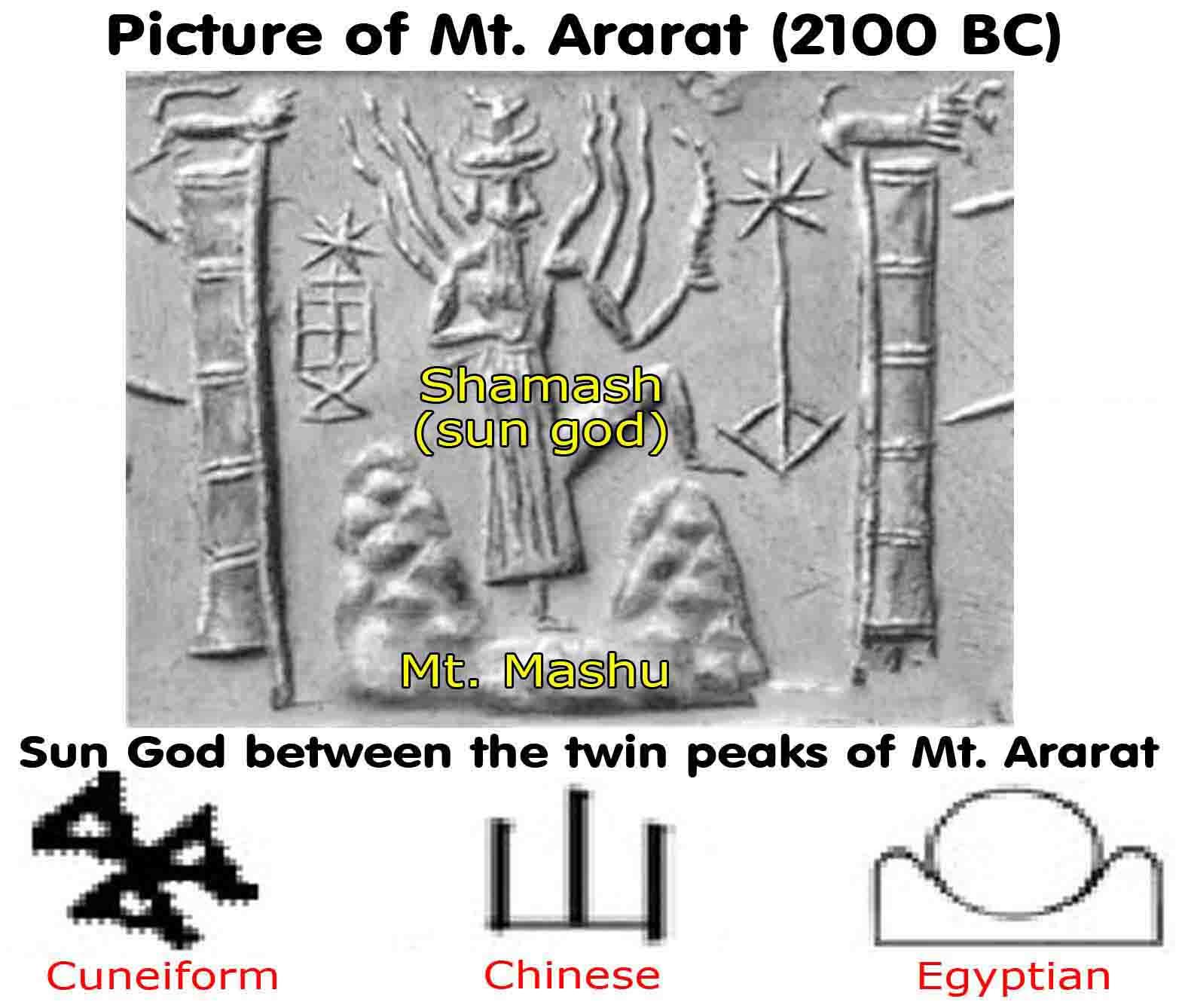 Noah's Ark at Mount Ararat twin peaks sumerian sun god Shamash between twin peaks of Mashu